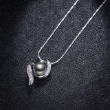 白い金張りの方法宝石類の女性の真珠のネックレス