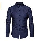 우연한 남자는 포켓을%s 가진 적당한 Demin 예복용 와이셔츠를 체중을 줄인다