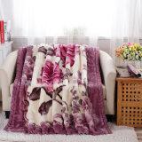 Двойной слой Raschel норки печати постельные принадлежности одеяло
