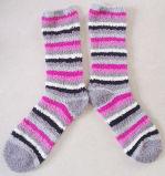 縞デザインの縞の女性ソックスを増加しなさいSoft Cosy Socks Microfiber