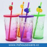 16OZ do vidro colorido Mason Jar caneca com tampa de PP