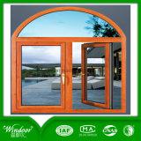 Premier guichet de glissement principal arqué et guichet en bois de luxe de la couleur UPVC de Designment de porte