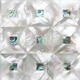 Weißes Lippenmopp-Shell und Ohrschnecken-Shell-Mosaik-Fliese