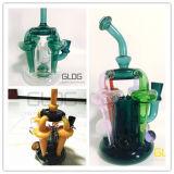 Nouveau design Gldg génial coloré recycleur de verre soufflé à la main en verre borosilicaté, pipe à eau avec beaucoup de fonction