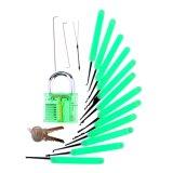 Зеленый транспарентной практике замок с Canvas Bag 15ПК необходим навык Lockpicking инструменты зеленый силиконовый чехол (комбинированные 6-4)