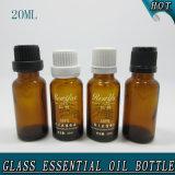 bottiglia di vetro dell'olio essenziale dell'ambra di figura del cilindro 20ml con il contagoccia