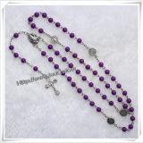 Rosary Иисус завязанный крестом Brown овальный деревянный с деревянным крестом (IO-cr067)