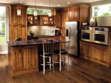Gabinetes de cozinha de venda a quente Creme de madeira maciça Série Mobiliário de cozinha