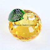 80mm grosses gelbes Kristallglas-Papiergewicht für Dekoration