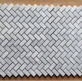 Azulejo de mármol blanco Shaped de la pared de la cocina de Backsplash de los azulejos de mosaico de Cararra de la espina de pez