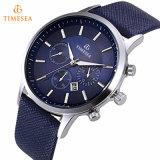 Relógio de pulso analógico de quartzo de couro azul masculino 72501