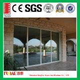 Puerta deslizante de vidrio templado doble de aluminio