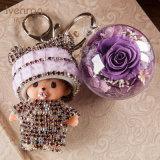 선물을%s 보존한 신선한 꽃 Monchhichi Keychain