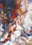 Pintura al óleo abstracta hecha a mano caliente de la velada musical de la venta el 100% para la decoración casera