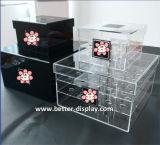 Изготовленный на заказ коробка цветка подарка Balck акриловая с логосом печатание