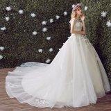 段階的レースの花の王女夜会服のウェディングドレス(夢100071)
