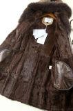 フード付き方法子ヒツジの革および毛皮の衣類の女性の長い様式