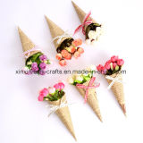 Mini Rose Bouquet Arboles florales artificiales con papel de embalaje