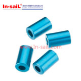 Buchse des Aluminium-6061 mit dem Blau anodisiert