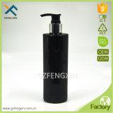 botella plástica del animal doméstico negro del cilindro 300ml con la bomba de plata de la loción