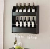 Crémaillère fixée au mur en bois en verre de vin de 2 rangées pour la maison