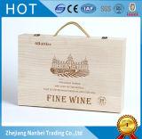 Insignia de encargo que abisagra el rectángulo de madera del vino de la tapa para la botella 6