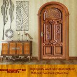 Porte d'entrée en bois arronée en bois rond en bois de luxe (GSP2-038)