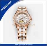 2017最も新しいデザインa+品質の贅沢な流行の自動腕時計の女性White Ceramic Watch