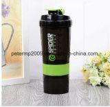 600ml 3 strati della proteina della tazza dell'agitatore, agitatore di plastica, bottiglia di acqua di plastica su ordinazione