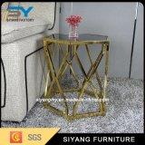 ホーム家具ガラス表の金のソファーの側面表