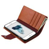 [2 en 1 Estilo] [desmontable magnética] Folio cubierta del tirón la caja, caja del cuero genuino [Ranura para tarjeta] [Soporte básico] para el iPhone 6