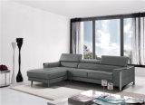 Sofà moderno con cuoio genuino L sofà sezionale di figura con il piedino dell'acciaio inossidabile