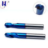 Molinos de extremo sólidos de la nariz de la bola de la flauta del carburo 2 del alto rendimiento con la capa Azul-Naco