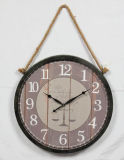 Античный металл & деревянные часы стены с украшением вися веревочки домашним