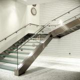 ステンレス鋼の緩和されたガラスのまっすぐなステアケース
