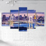 Druck-Hauptwand-Kunst-Dekor-Farbanstrich-Regenbogen-Brücken-Tokyo-Bucht-Tokyo-Aufsatz-Twilight Druck-Segeltuch-Wand-Kunst-Abbildung-Farbanstrich