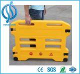 Barreira expansível plástica portátil amarela da segurança de estrada com roda