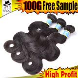 Cheveux humains réels, prolonge brésilienne de cheveu de la pente 10A