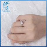 Einfache Zinken der Art-sechs klassischer Solitare Moissanite Diamant-Silber-Ring