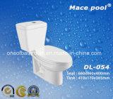 목욕탕 화장실 Siphonic 내뿜기를 가진 2 조각 수세식 변소 (DL-054)