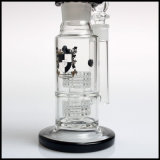 Conduite d'eau de fumage double de matrice de Perc de bobine de tube de narguilé congelable en verre blanc et noir de Shisha