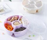 5 compartiments ronde des bonbons en plastique transparent de plaques de stockage