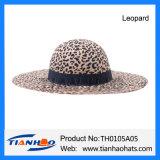 Leopard-breiter Rand-Wolle-Filzcloche-Floppyfrauen-Hut