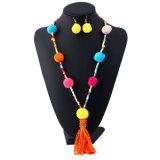 De lange Halsband van de Parel van de Bal van de Pluche Wollen, Uitstekende Dame Neck Chain van Bohemen met Earings