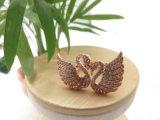ジルコンの石のローズの金によってめっきされるめっきの真鍮の銅の粋な白鳥のリング