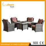 Hauptrattan-moderner Feuer-Vertiefung-Tisch-und Stuhl-Hotel-Weidenheizungs-im Freiengarten-Möbel