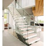 A HOME moderna decora escadas de vidro pretas da madeira dos trilhos