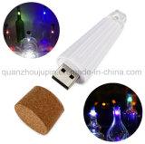 OEM 장식적인 다채로운 USB 재충전용 LED 병 마개