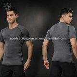 도매 높은 스판덱스 체조 남자의 t-셔츠 주문 스포츠 남자 t-셔츠