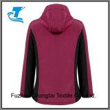 Cremallera completa de la mujer de color de contraste forrada de lana chaqueta Softshell